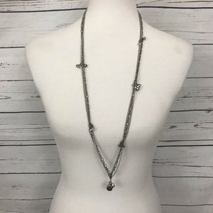 LOFT Beaded Accent Necklace Long Length Silver